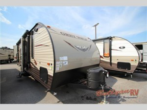 The  Cherokee Grey Wolf toy hauler travel trailer.