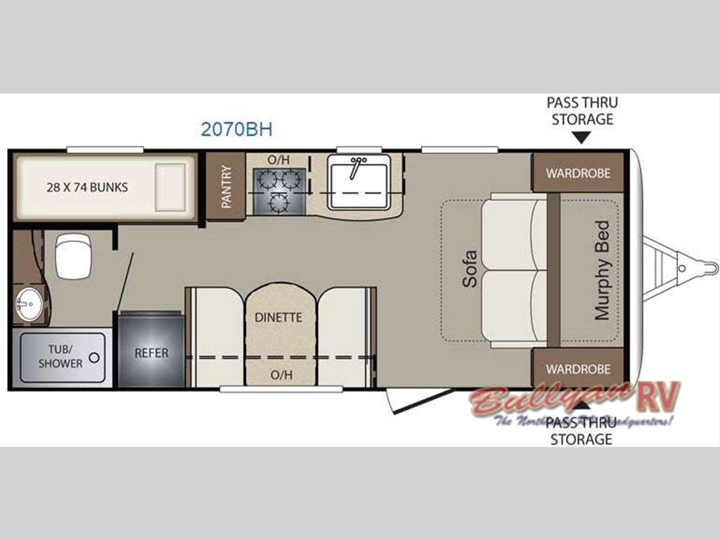 Keystone Bullet Crossfire 2070BH travel trailer floorplan