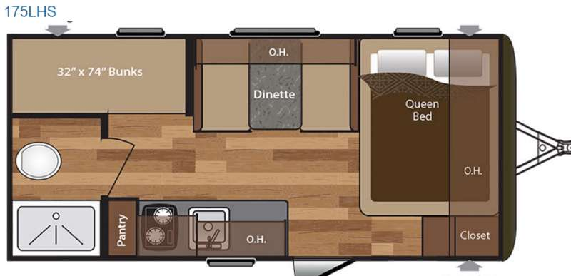 Keystone Hideout 175LHS Travel Trailer Floorplan