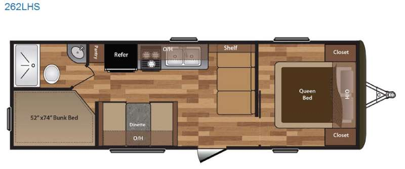 Keystone Hideout 262LHS Travel Trailer Floorplan