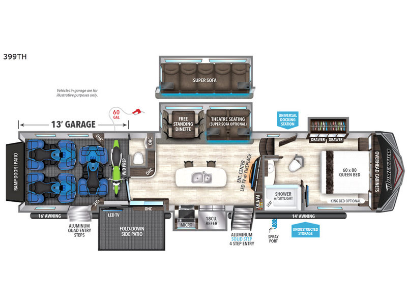 Grand Design Momentum 399TH Toy Hauler Floorplan