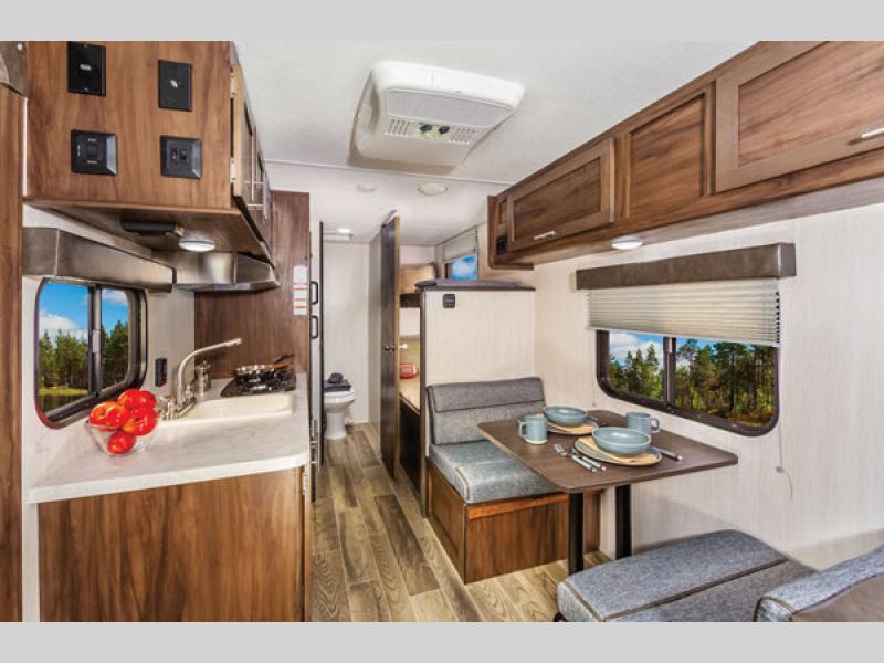 bedroom in wolf pup travel trailer