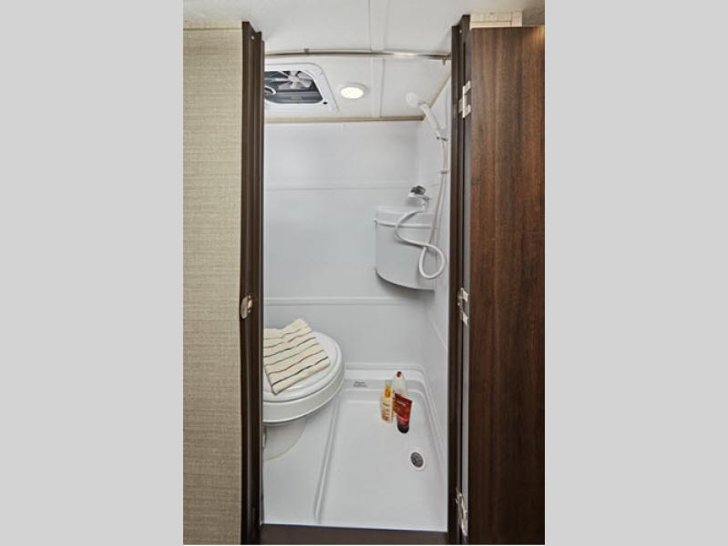 bathroom in colt travel trailer